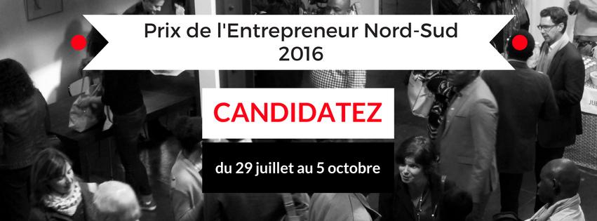 Appel à Candidatures // Prix de l'Entrepreneur Nord-Sud